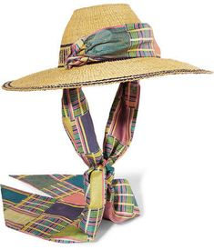 315e256bd9339 Margherita X Cambiaghi X OAfrica - Silk-trimmed Printed Straw Hat - Beige