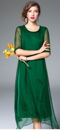 Not my style, but this is my new 2017 color palette thanks to mama!  Green Silk Linen Braid Neckline Half Sleeve Asymmetrical Hem Midi Dress