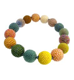 Axel Russmeyer handmade bead necklace with yellow, peach and watergreen colored glass beads and bayonet clasp.
