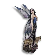 Purple Moonlight Fairy with Wolf Companions Statue 27 In.