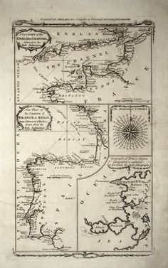 Ancient Map of English Channel