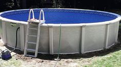 Round Harmony by Aqua Leader  1 Harmony 54″ Above Ground Pool Package from AQUA LEADER  2 Galaxy Wall Pattern  3 Yardmore system contour oval; A series of practically invisible lateral supports that get placed in the ground and they only exceed 9″ from the wall  4  60 Pro-Rated warranty Including 5 YEARS FULL   5 A recent Harmony Installation http://abovegroundpooldeckideas.net/harmony-by-aqua-leader/