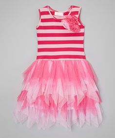 Another great find on #zulily! Hot Pink & Pink Stripe Ruffle Dress - Infant, Toddler & Girls #zulilyfinds