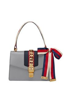 Sylvie Small Leather Shoulder Bag, Gray by Gucci at Neiman Marcus.
