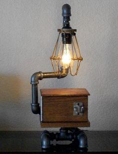 Industrial Pipe and Reclaimed Hardwood Desk Table Lamp with Shade. $225.00, via Etsy - Splinterwerx.