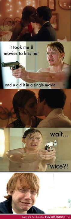 Poor Ron. it took him 8 movies to kiss hermoine. harry potter. romance. the perks of being a wallflower.