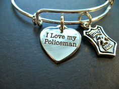 I Love My Policeman Police Badge Silver Bangle by DesignsBySuzze