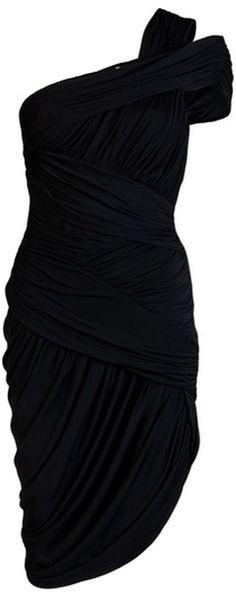 Halston Heritage Ruched One-Shoulder Dress