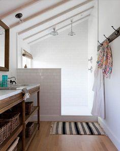 "Rosa Beltran Design: ""ORGANIC MODERN"" BATHROOM DESIGN. Shower for master bath -sloped ceiling."