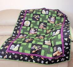 Halloween Lap Quilt in Black & Green Sofa Throw by CactusPenguin, $105.00