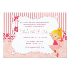 Shop Little Ballerina birthday Invitations - version 4 created by WhirlibirdExpress. Ballerina Birthday Parties, Girl Birthday Themes, 4th Birthday Parties, Ballerina Party, 3rd Birthday, Pirate Birthday Invitations, Zombie Birthday, Thing 1, Little Ballerina