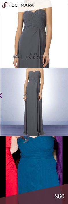 Bill Levkoff 759 Navy Blue Bridesmaid Dress Sz8 This navy blue floor length Bill Levkoff dress is a classy look for Bridesmaids or wedding guests. This chiffon strapless gown with a sweetheart neckline is perfect for all seasons. Criss cross ruched bodice. Off-center pleats accent the soft A line gown with back gathers. Bill Levkoff Dresses Strapless