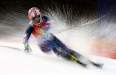 Nolan Kasper of the U. competes in the first run of the men's alpine skiing slalom event at the 2014 Sochi Winter Olympics at the Rosa Khu. Slalom Skiing, Alpine Skiing, Olympic Sports, Winter Games, Hockey Teams, Team Usa, Winter Olympics, Daily Photo, Beautiful
