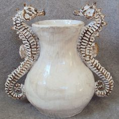 Double Seahorse Vase Ceramic Sculpture: Beach Decor, Coastal Home Decor, Nautical Decor, Tropical Island Decor & Beach Cottage Furnishings