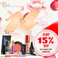 #Friendshipday celebration is even more fun with Blue Heaven Cosmetics and with no boundaries. Buy unlimited products from our exciting range and get Flat 15 % discount on total bill amount with no minimum Purchase. 👫👫👫 #blueheaven #happy #FriendshipDay #friends #friendsforever #girls #style #stylish #stayclassay #fashionlife #Indian #offers #off #citygirl #citystyle
