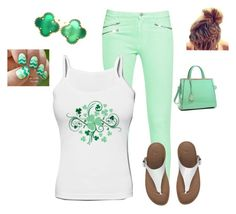 """""""Green and white"""" by smith-1979 ❤ liked on Polyvore featuring French Connection, FitFlop, Van Cleef & Arpels and Dasein"""