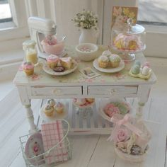 Miniature Easter Cottage Bakery Table.