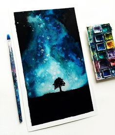 Inky night sky painted extremely quickly with watercolours and a tiny left over piece of paper. Watercolor Night Sky, Night Sky Painting, Galaxy Painting, Galaxy Art, Watercolor Paintings, Galaxy Watercolour, Watercolours, Painting Inspiration, Art Inspo
