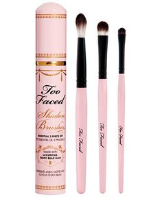 Best Cruelty Free Brush Kit: Too Faced Shadow Brushes Essential 3 Piece Set $39.00 Our signature Teddy Bear Hair is an exclusive, super soft and luxurious fiber that grabs and blends pigments for a professional looking application without any of the animal cruelty associated with natural hair brushes. 100% Cruelty-Free.