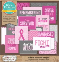 FREE Life in Pictures: Breast Cancer Support Cards by Peppermint Creative [ Re-sharing ]