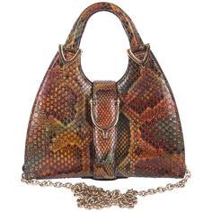 0f9df8b3440e69 Gucci Mini Python Stirrup Top Handle Bag Dark Brown Leather, Bag Sale,  Python,