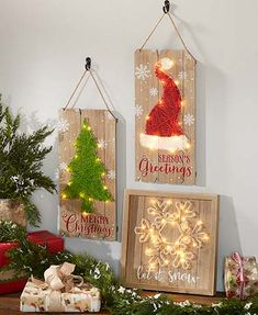 This Lighted Holiday String Art combines the nostalgia of string art with modern LED lights to create eye-catching decor. Made of distressed pallet wood with th