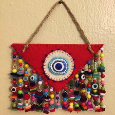 keçe, keçe nazarlık, nazarlık, felt, feltro, felt amulet, amulet, design, hand made, sipariş Jute Crafts, Bead Crafts, Diy And Crafts, Arts And Crafts, Crochet Wall Hangings, Hanging Beads, Art Textile, Art N Craft, Bottle Painting