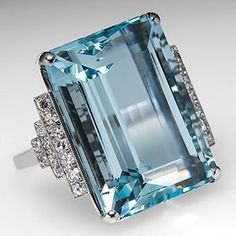 Aquamarine is the traditional March birthstone and aquamarine stone rings are simply stunning. Please enjoy shopping EraGem's collection of aquamarine jewelry. Vintage Engagement Rings, Vintage Rings, Diamond Engagement Rings, Vintage Jewelry, Stone Jewelry, Jewelry Rings, Silver Jewelry, Jewlery, Aquamarine Stone