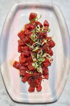 """Watermelon Poke Recipe - 101 Cookbooks Definitely a """"plan ahead"""" recipe. The sauce might be good in other recipes as well. Recipes Using Fruit, Veggie Recipes, Asian Recipes, Appetizer Recipes, Whole Food Recipes, Vegetarian Recipes, Cooking Recipes, Healthy Recipes, Ethnic Recipes"""