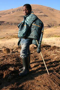 basotho children wrapped in blankets - Lesotho