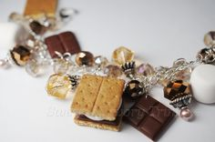 Smore Charm Bracelet, Miniature Food Jewelry, Brown Charm Bracelet, Polymer Clay Food