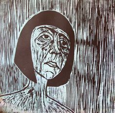 Hand carved and printed woodcut print of woman.