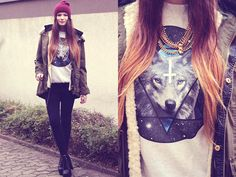 Gossengold Wolves Hipster Sweater, Forever 21 Studded Necklace, Dr. Denim Skinny Jeans, Vjstyle Spiked Heels, Zara Cosy Jacket, Primark Beanie