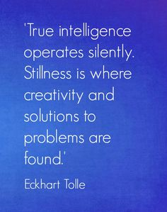 true intelligence operates silently. stillness is where creativity and solutions to problems are found