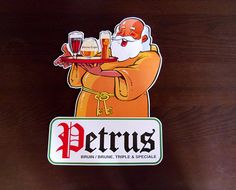 Vintage beer advertisement Petrus Belgium beer display board Stand up Ad Yellow & Red Jolly white bearded man carrying a tray of beers