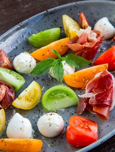 Fresh tomatoes, mozzerella and prosciutto - absolutely fab!! #summer #fresh #yum #gourmet #gourmetfoodparlour #gfp