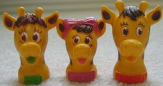 Here are three little toy finger puppets from Toys 'R Us. Gigi, Baby Gee and Geoffrey, pictured here, were three members of the giraffe family used in their advertising.  I think these are from the early 1980s, but someone please correct me if I'm wrong.