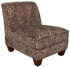 Leopard Fabric Modern Armless Chair w/Wooden Legs
