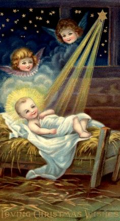 Christmas Post Car with Baby Jesus and Angels Merry Christmas, Christmas Post, Antique Christmas, Christmas Nativity, Vintage Christmas Cards, Christmas Images, Christmas Wishes, Christmas Angels, Christmas Greetings