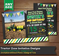 JOHN DEER GREEN TRACTOR INVITATIONS How cute are these John Deer green and yellow tractor invitations! Great for spring, summer or fall parties, they're perfect for any farming birthday party you have planned for your child. The John Deer tractor can come in green or yellow and each invitation comes with or without a photo. You choose! So come on down to the farm to party! Yeee haaa!! PRINTABLE FILES