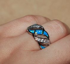 blue fire opal Cz ring gemstone silver jewelry Sz 7 cocktail wedding wide band #Band