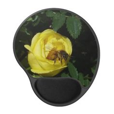 Honey Bee Pollinating Yellow Rose Gel Mouse Pad