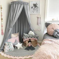 Tassel Decoration Round Dome Princess Bed Canopy- Gray ❤ Wonder Space Kids Bed Canopy - Ideal Gift C Princess Canopy Bed, Princess Room, Princess Theme, Playroom Decor, Bedroom Decor, Bedroom Ideas, Bedroom Lighting, Tent Bedroom, Magical Bedroom