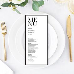 Minimalist Wedding Menu. Printable Modern Wedding Menu Template.