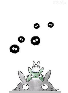 Totoro, the little ones, and the dust bunnies. My Neighbor Totoro Manga Anime, Anime Art, Hayao Miyazaki, Totoro Ghibli, Painting & Drawing, Studio Ghibli Movies, Howls Moving Castle, My Neighbor Totoro, Graphic