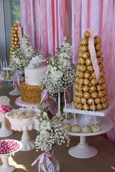 Beautiful Pink and Gold Christening by Memories are Sweet - Lolly Buffet Gold Candy Buffet, Lolly Buffet, Dessert Buffet, Candy Table, Gold Birthday, 16th Birthday, Birthday Parties, Sweet 16 Parties, Pink Parties