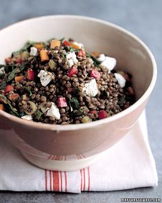 Hearty lentils and tangy goat cheese pair perfectly in this healthy side dish.