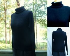 1990s Black Cashmere Turtleneck Sweater from eagle's eye, Siz M, Made in Hong Kong by HiddenTreasureHunter on Etsy
