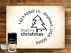 Merry Christmas Return Address Stamp - Custom - SELF INKING - 9161. $28.00, via Etsy.