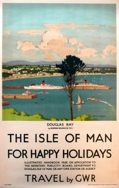 Isle of Man GWR Railway Wilkinson Douglas Bay, 1920s - original vintage poster by Norman Wilkinson listed on AntikBar.co.uk
